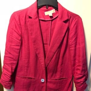 Michael Kors Hot Pink Push Up Sleeves Blazer SZ 4